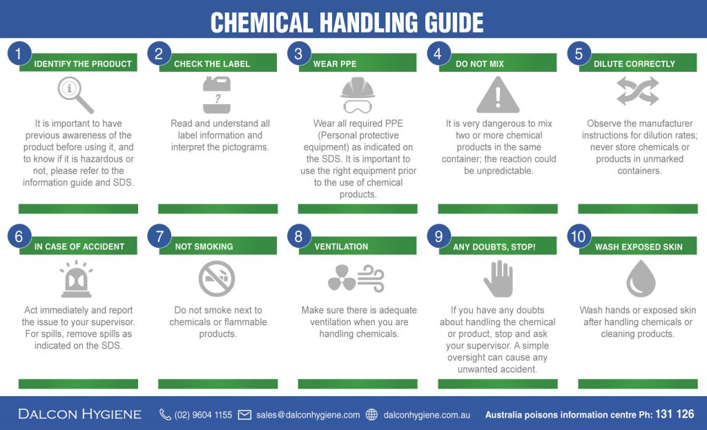 Handling chemicals guide Dalcon Hygiene
