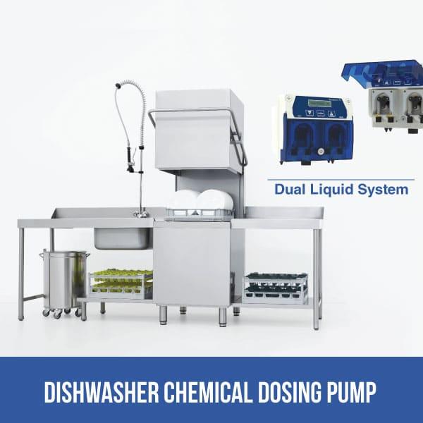 Dishwasher chemical dosing pump in kitchen