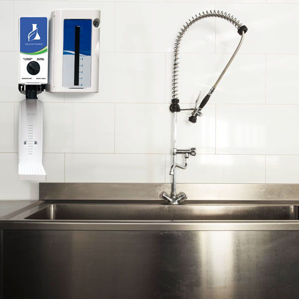 Drip tRay dispenser and secure chemical locker in commercial kitchen