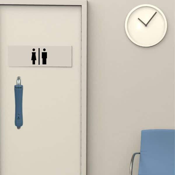 Bathroom door with antibacterial pull door handle