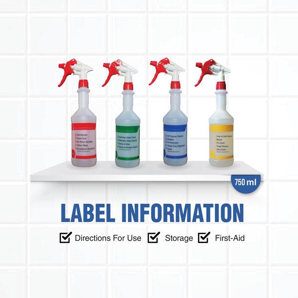 Spray bottles colour coded dalcon hygiene
